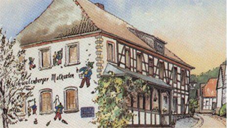Gasthof in Kulisse gezeichnet.